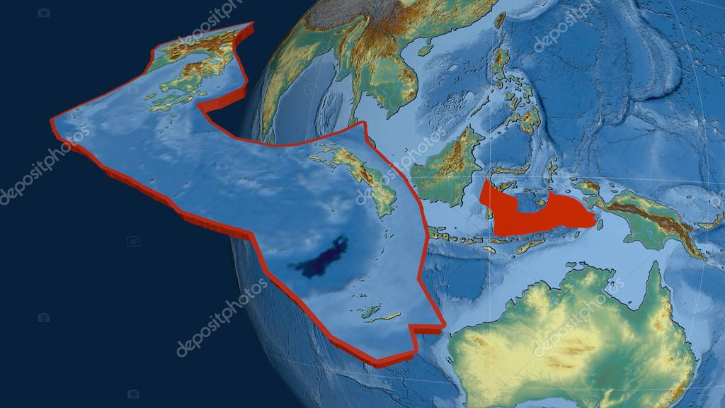 Banda Sea tectonic plate extruded and presented against the globe. Topographic relief map