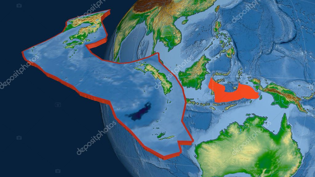 Banda Sea tectonic plate extruded and presented against the globe. Color physical map