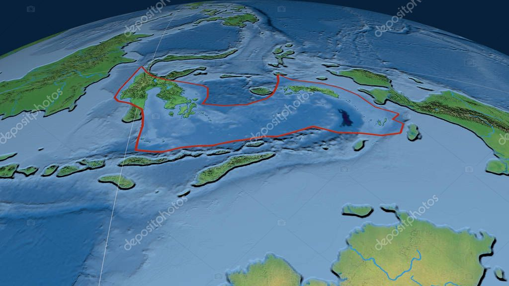 Banda Sea tectonic plate outlined on the globe. Natural earth topographic map