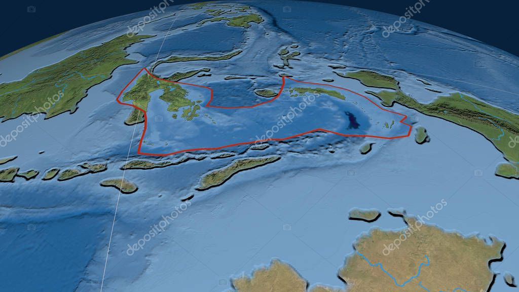 Banda Sea tectonic plate outlined on the globe. Satellite imagery