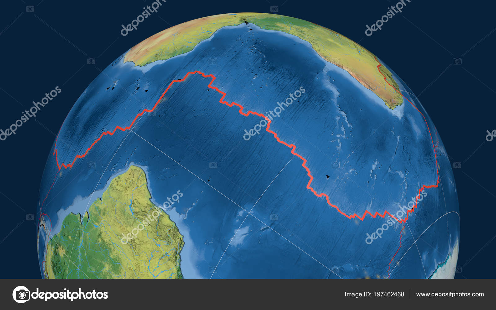 African Tectonic Plate Outlined Globe Topographic Map Stock Photo