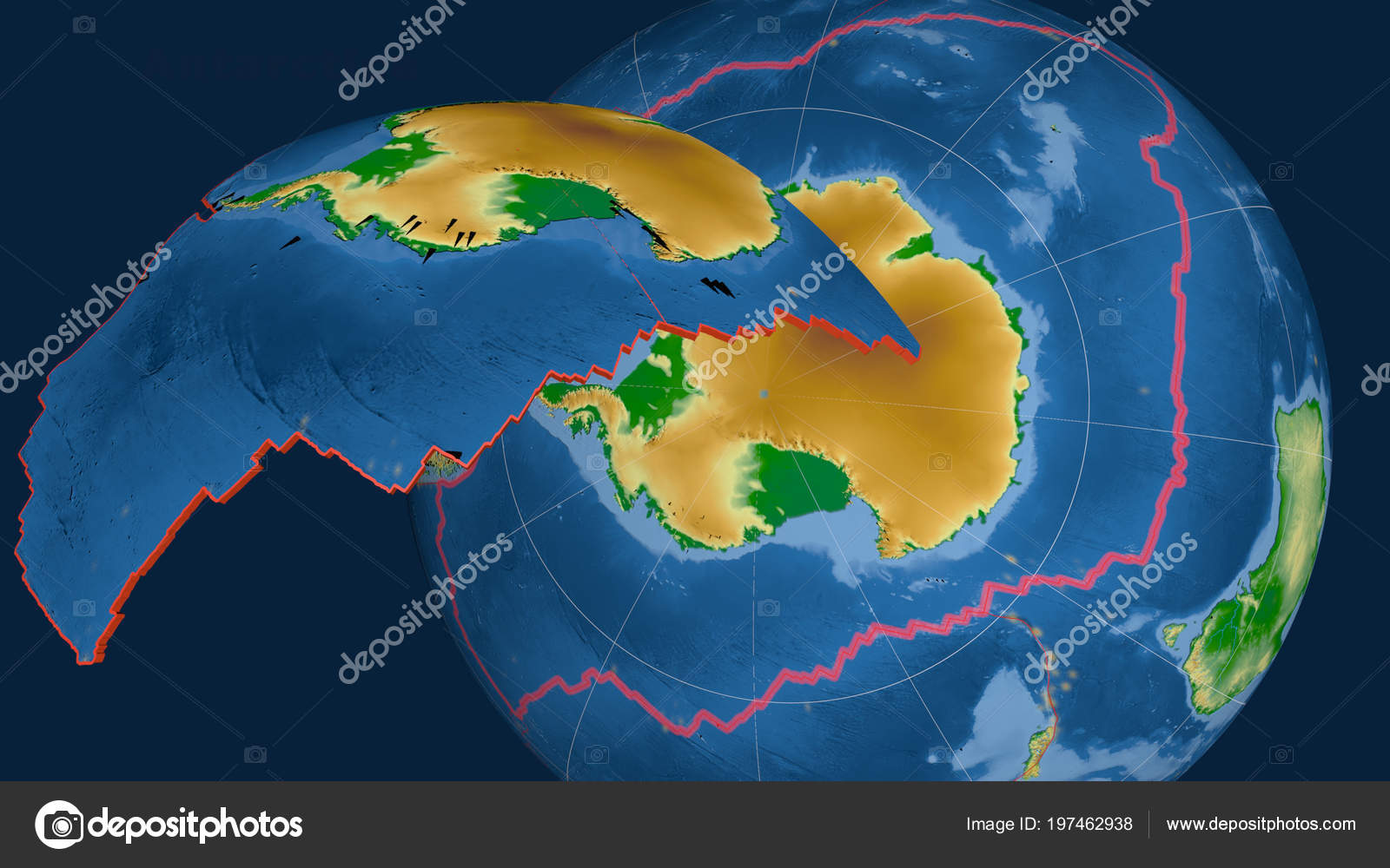 Antarctica Tectonic Plate Extruded Presented Globe Color Physical ...