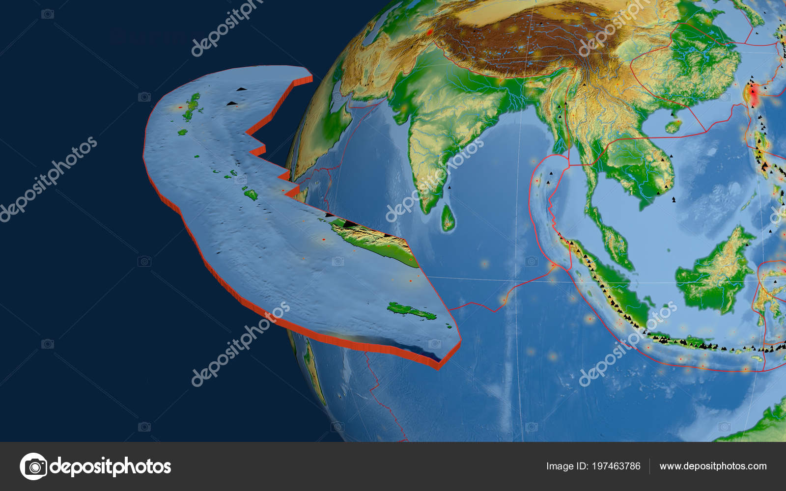Burma Tectonic Plate Extruded Presented Globe Color Physical ...
