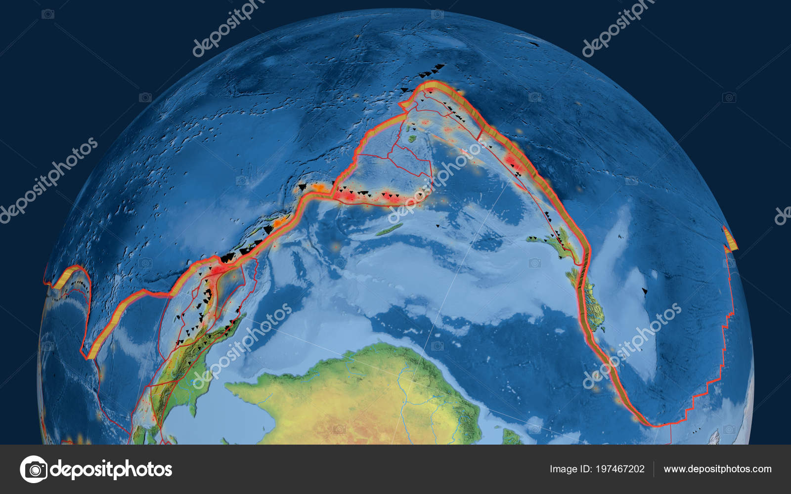 Pacific Tectonic Plate Extruded Globe Natural Earth