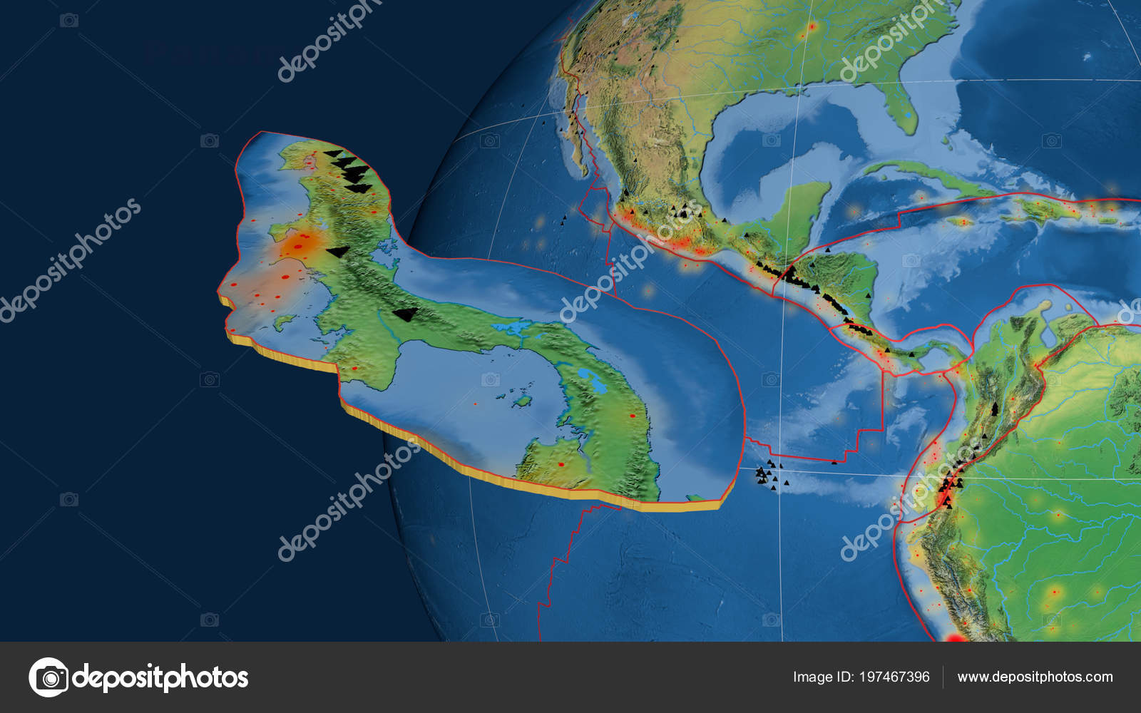 Topographic Map Of Panama.Panama Tectonic Plate Extruded Presented Globe Natural Earth