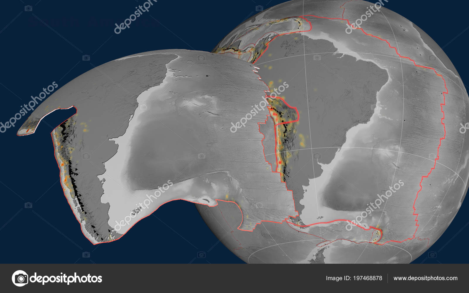 South America Tectonic Plate Extruded Presented Globe Grayscale