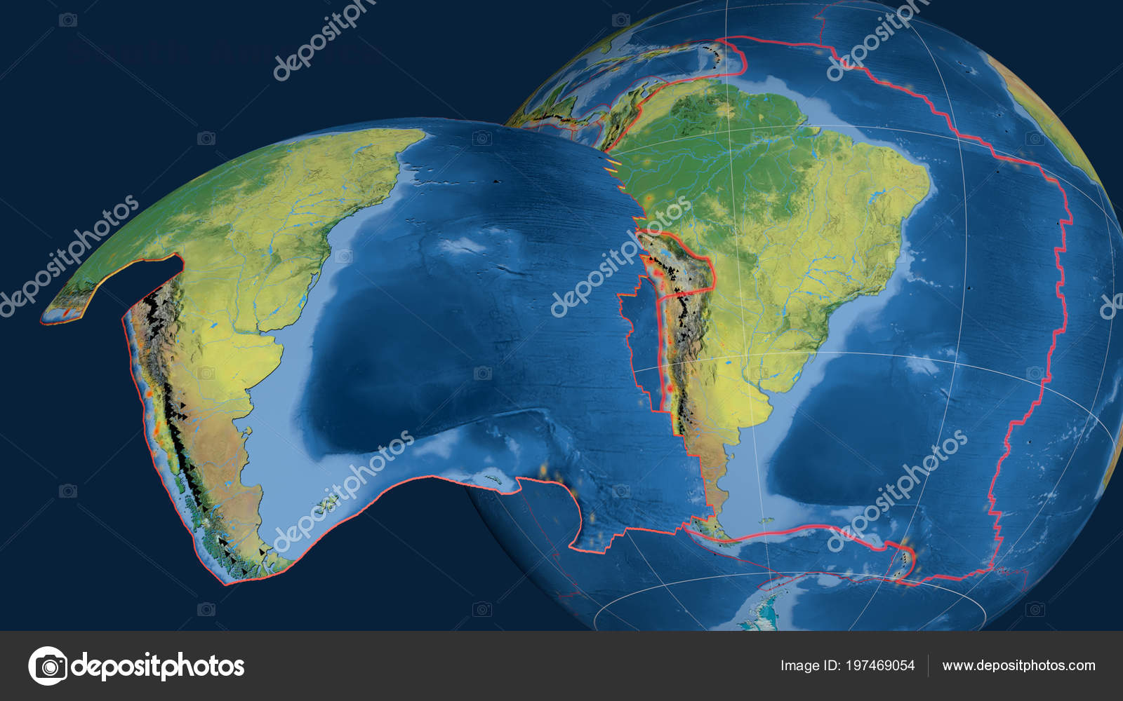 South America Tectonic Plate Extruded Presented Globe Topographic