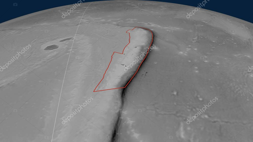 Tonga tectonic plate outlined on the globe. Grayscale elevation map