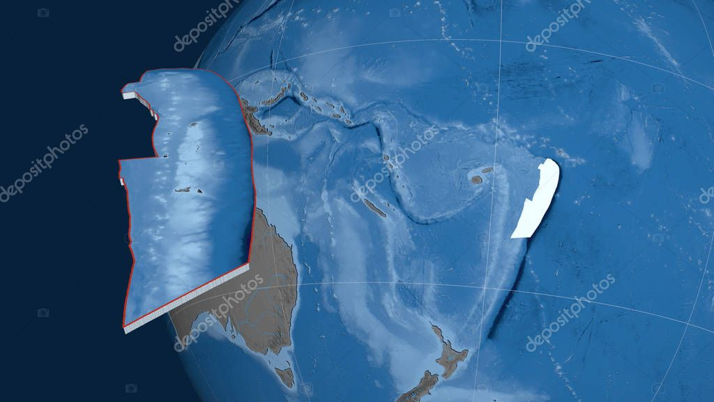 Tonga tectonic plate extruded and presented against the globe. Topography and bathymetry colored elevation map