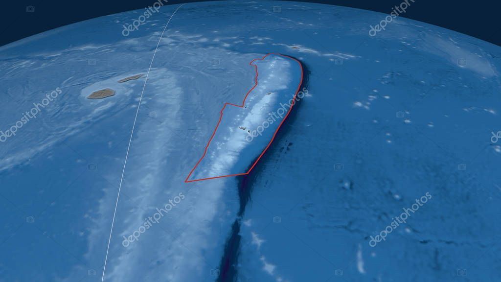 Tonga tectonic plate outlined on the globe. Topography and bathymetry colored elevation map