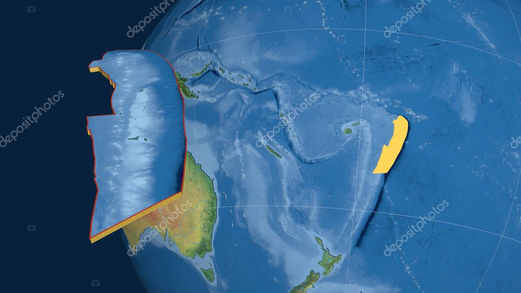 Tonga tectonic plate extruded and presented against the globe. Natural earth topographic map