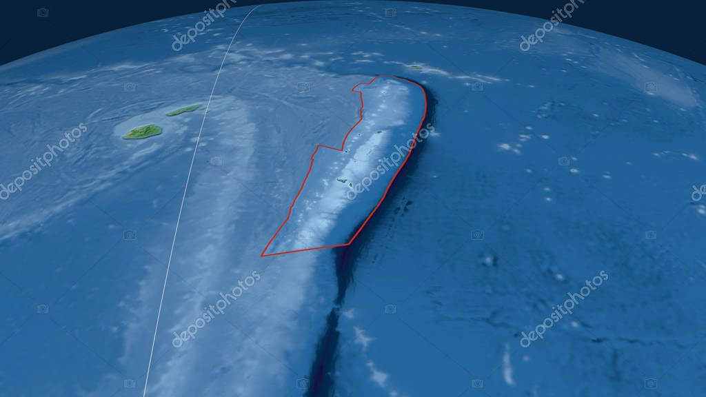 Tonga tectonic plate outlined on the globe. Natural earth topographic map