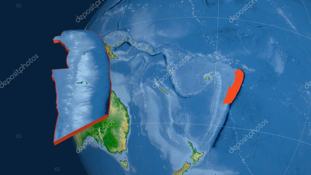 Tonga tectonic plate extruded and presented against the globe. Color physical map