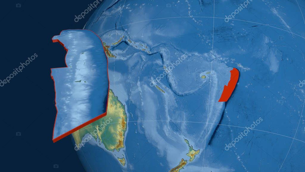 Tonga tectonic plate extruded and presented against the globe. Topographic relief map