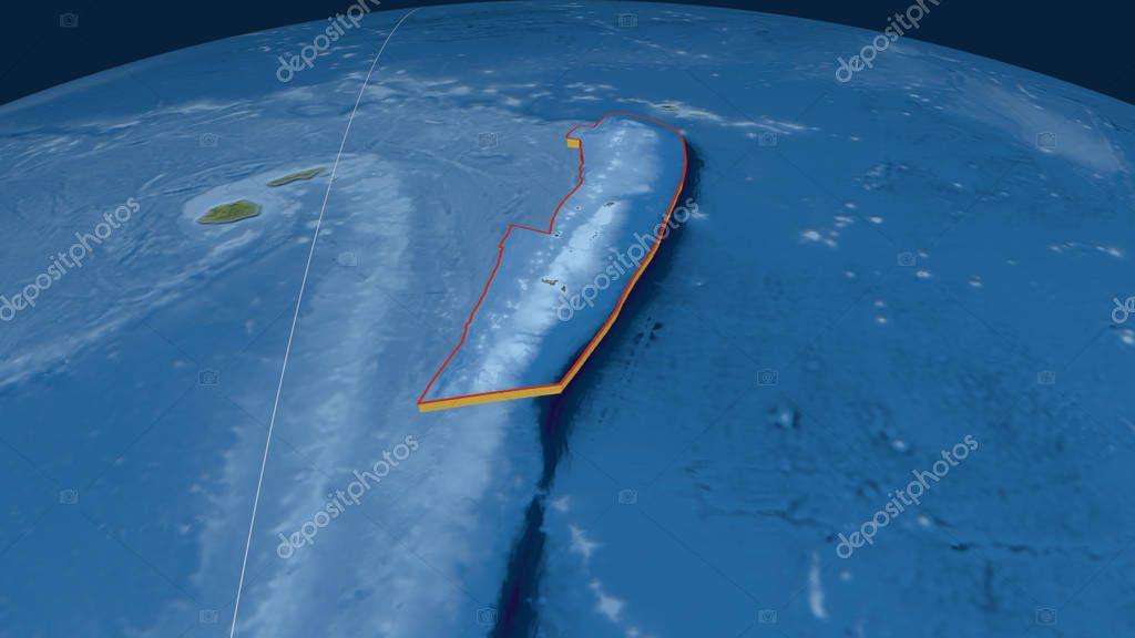 Tonga tectonic plate extruded on the globe. Satellite imagery