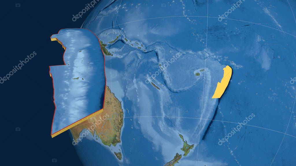 Tonga tectonic plate extruded and presented against the globe. Satellite imagery