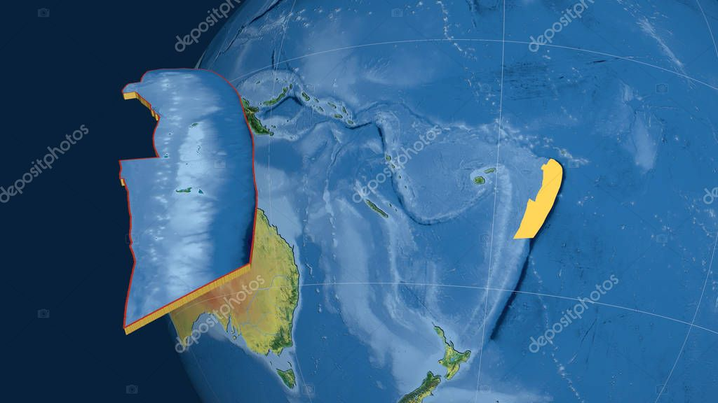 Tonga tectonic plate extruded and presented against the globe. Topographic map