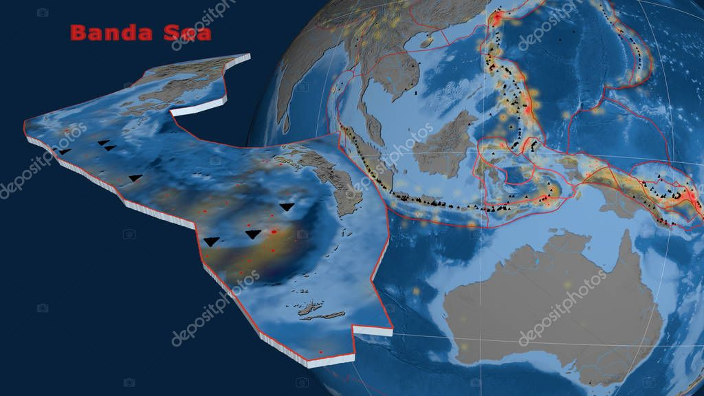 Banda Sea tectonic plate described, extruded and presented against the globe. Topography and bathymetry colored elevation map
