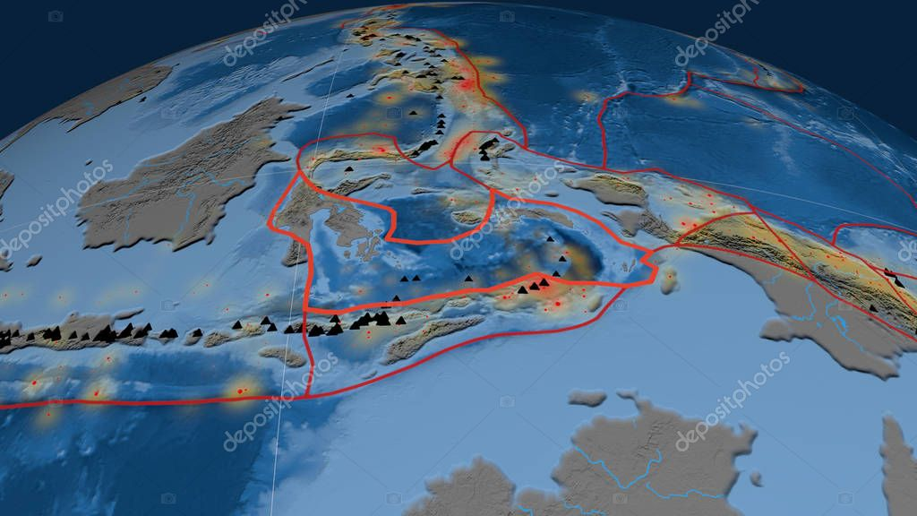 Banda Sea tectonic plate outlined on the globe. Topography and bathymetry colored elevation map