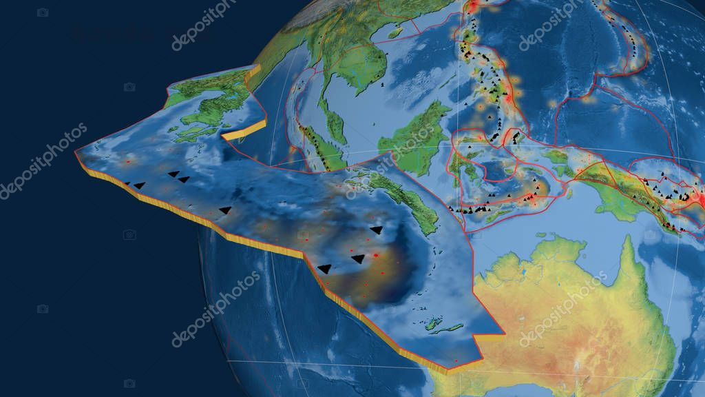 Banda Sea tectonic plate extruded and presented against the globe. Natural earth topographic map