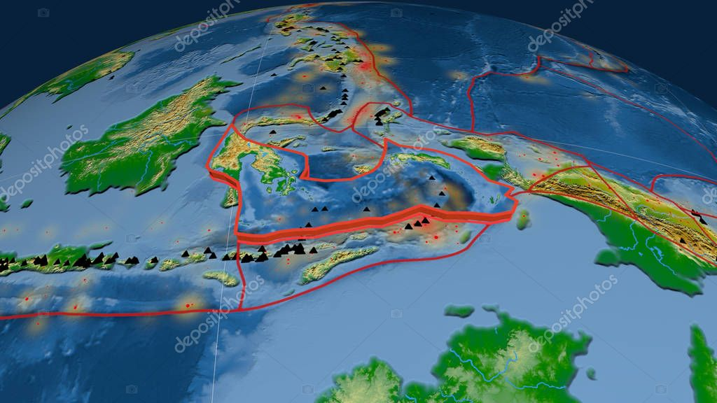 Banda Sea tectonic plate extruded on the globe. Color physical map