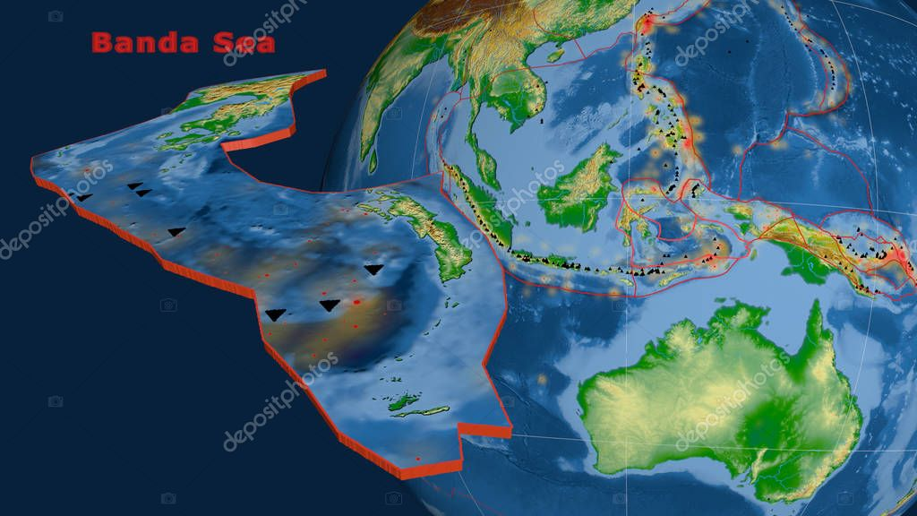 Banda Sea tectonic plate described, extruded and presented against the globe. Color physical map