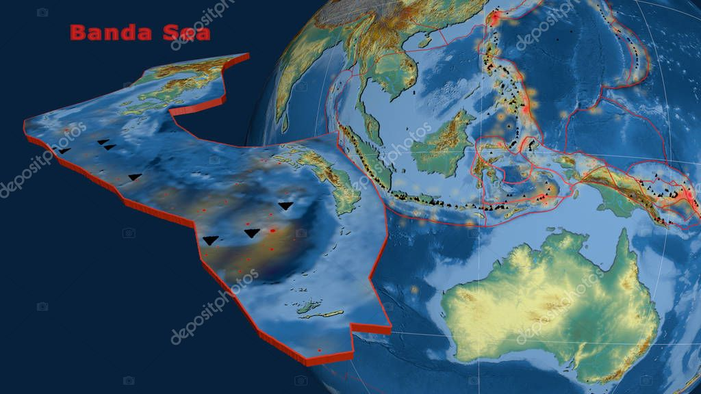 Banda Sea tectonic plate described, extruded and presented against the globe. Topographic relief map