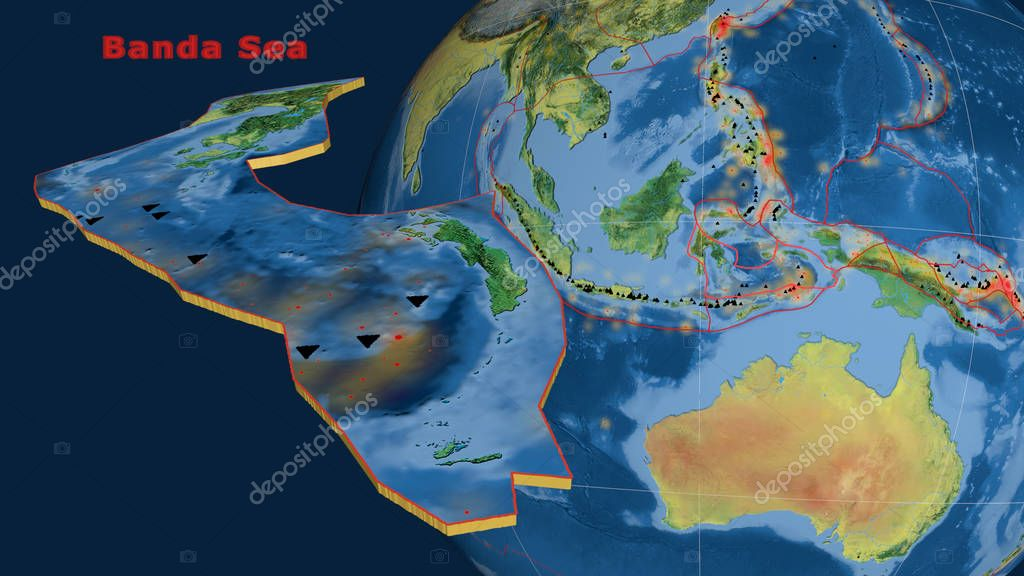 Banda Sea tectonic plate described, extruded and presented against the globe. Topographic map
