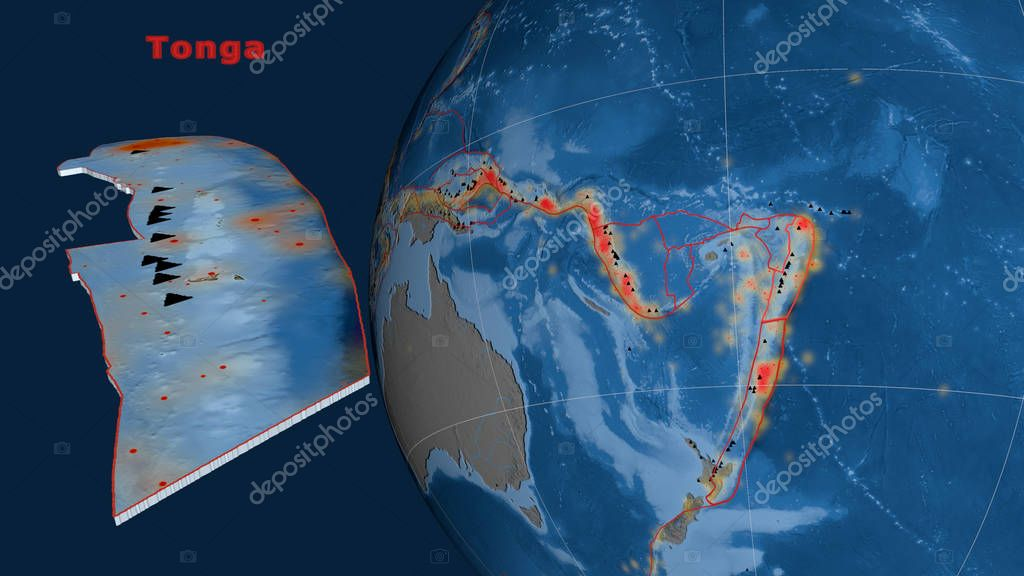Tonga tectonic plate described, extruded and presented against the globe. Topography and bathymetry colored elevation map