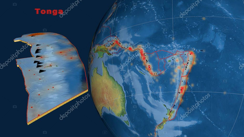 Tonga tectonic plate described, extruded and presented against the globe. Natural earth topographic map