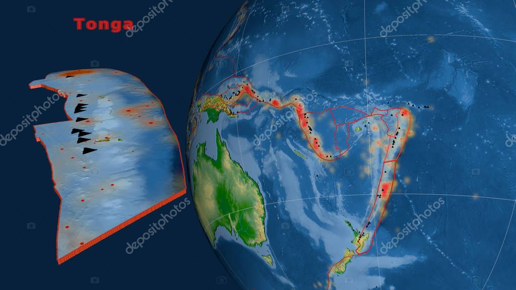 Tonga tectonic plate described, extruded and presented against the globe. Color physical map