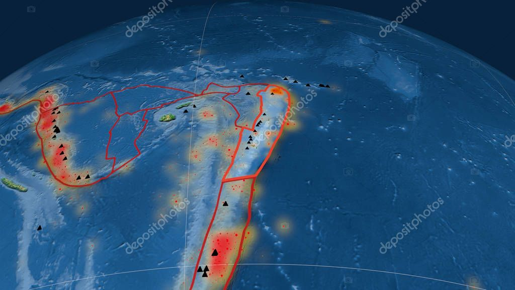 Tonga tectonic plate outlined on the globe. Color physical map