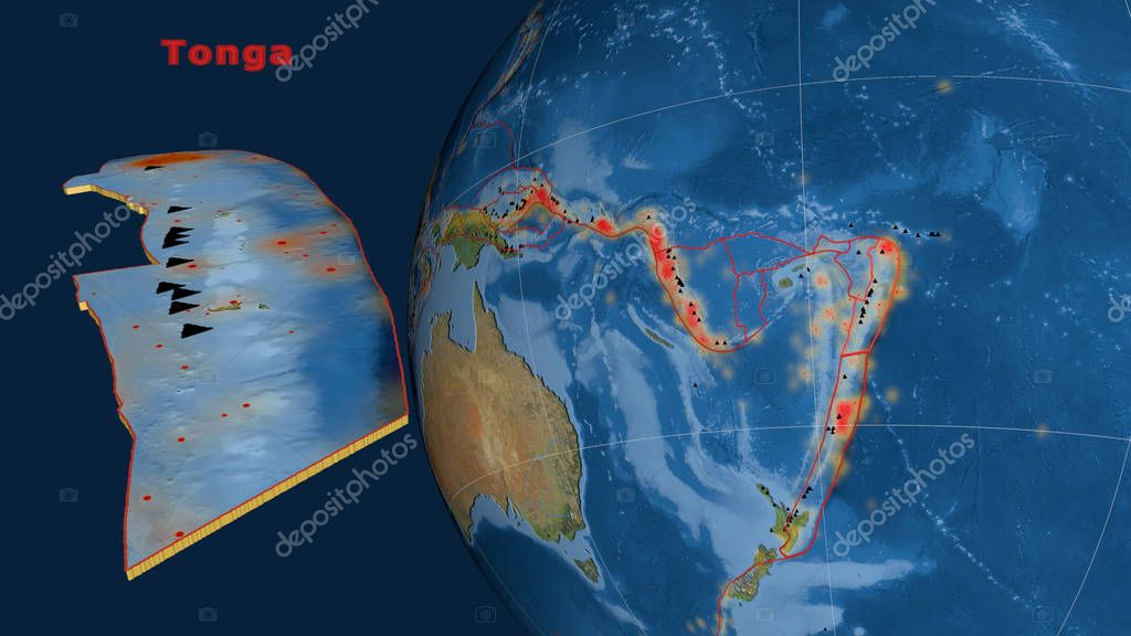 Tonga tectonic plate described, extruded and presented against the globe. Satellite imagery