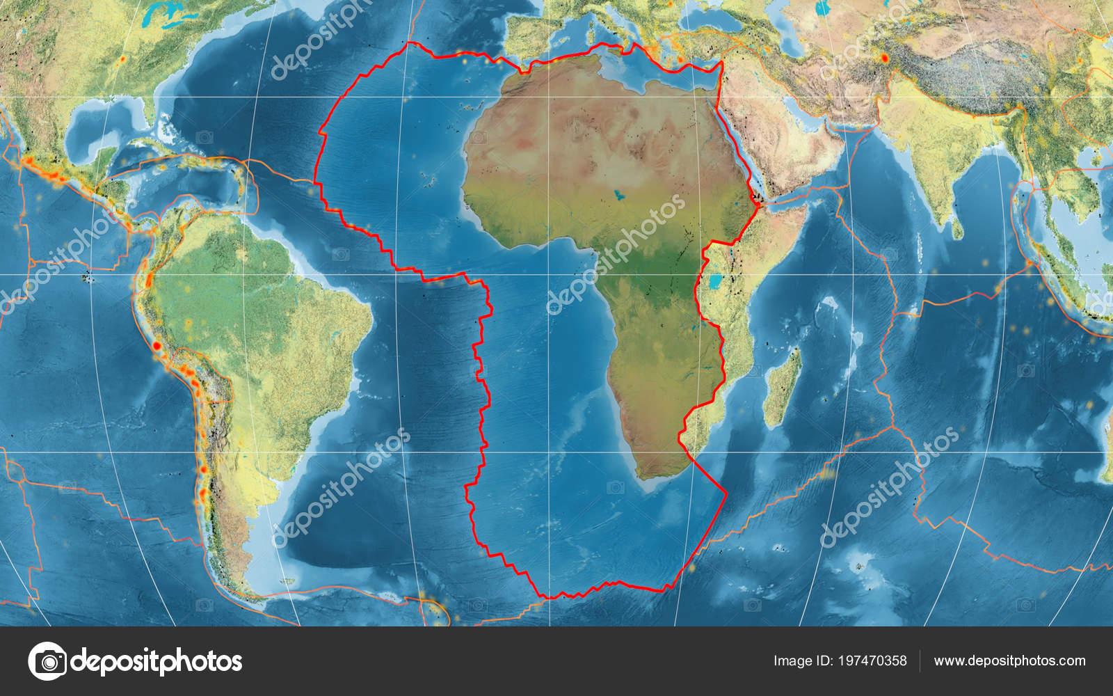 African Tectonic Plate Outlined Global Topographic Map Kavrayskiy