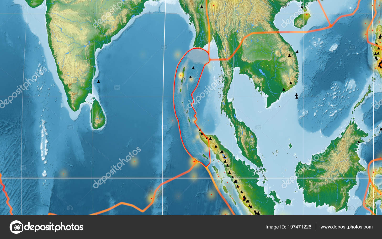 Burma Tectonic Plate Outlined Global Color Physical Map ...
