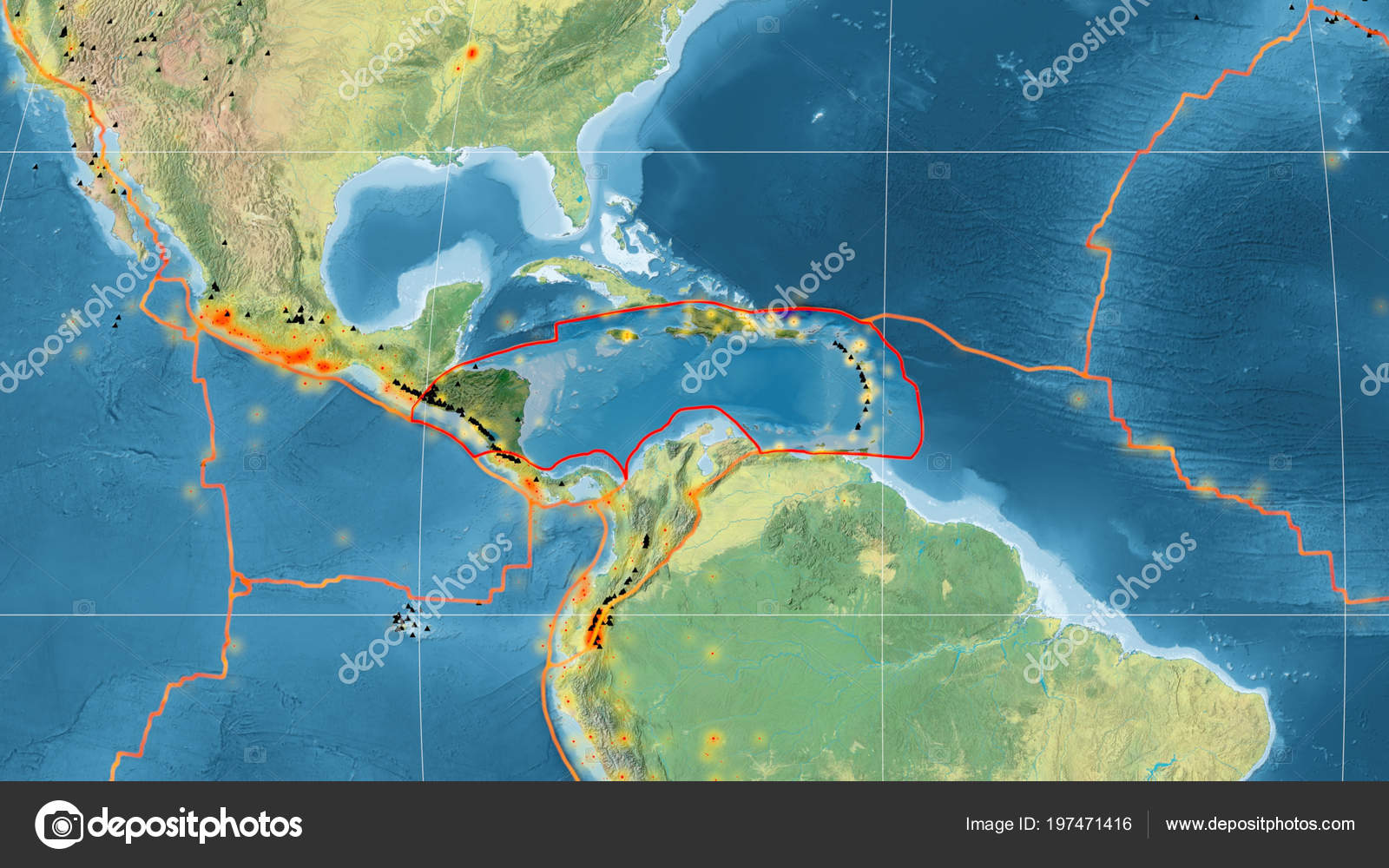 Caribbean Topographic Map.Caribbean Tectonic Plate Outlined Global Topographic Map Mollweide