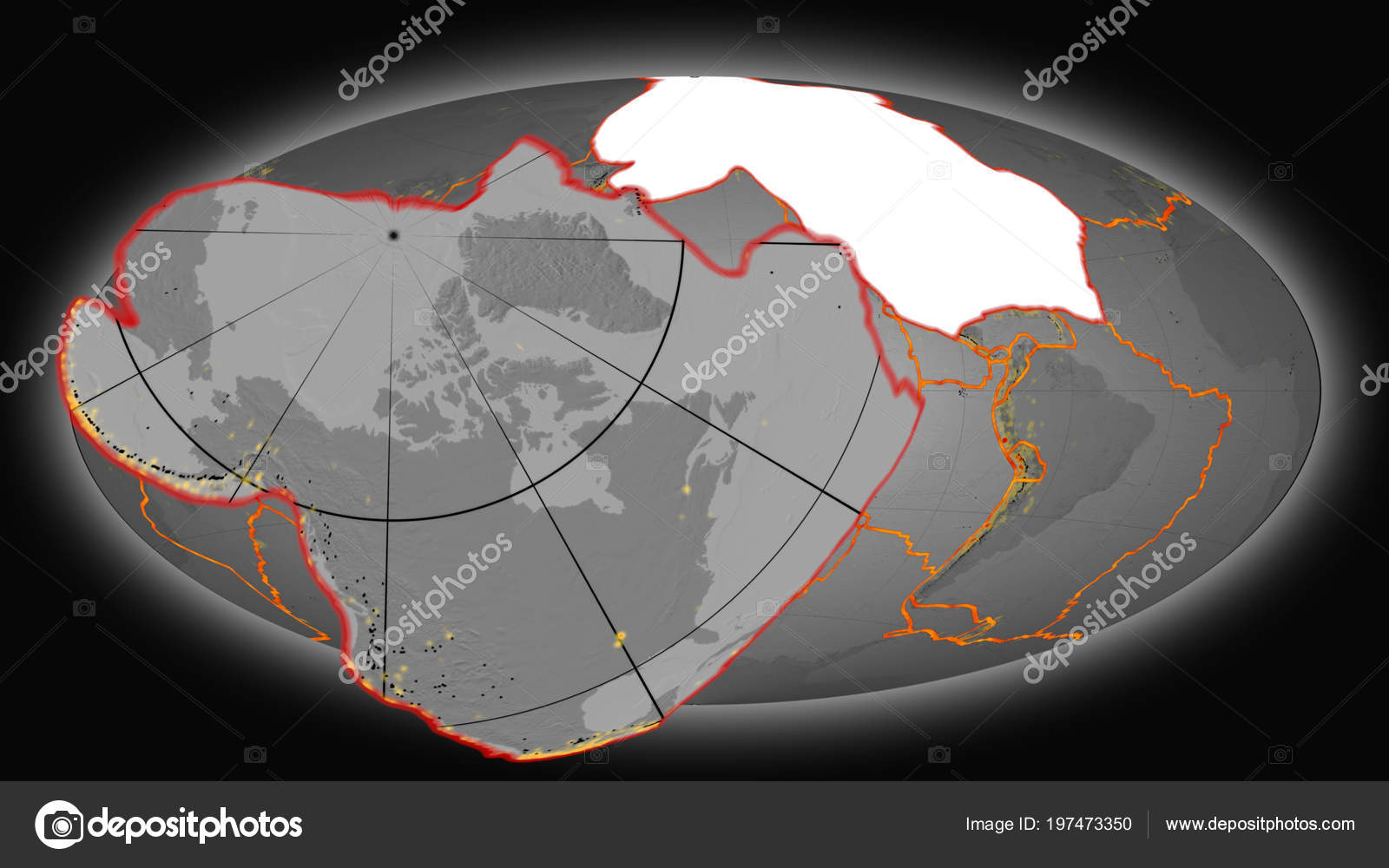 North America Tectonic Plate Extruded Presented Global Grayscale ...
