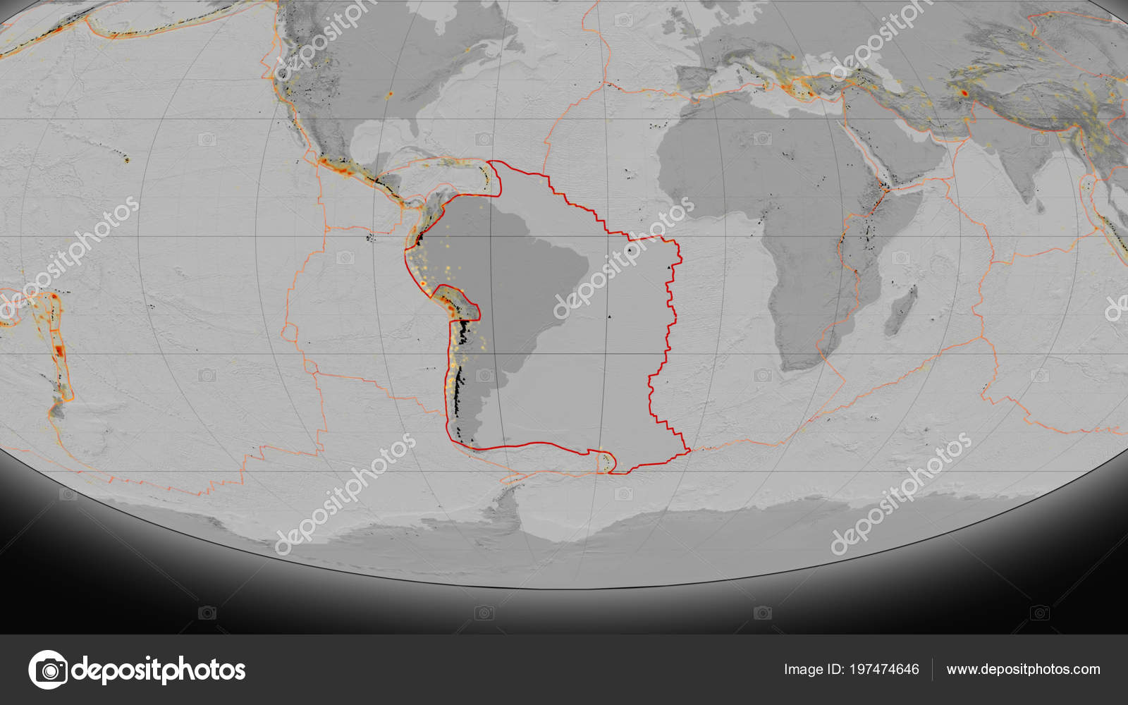 South America Tectonic Plate Outlined Global Grayscale Elevation Map