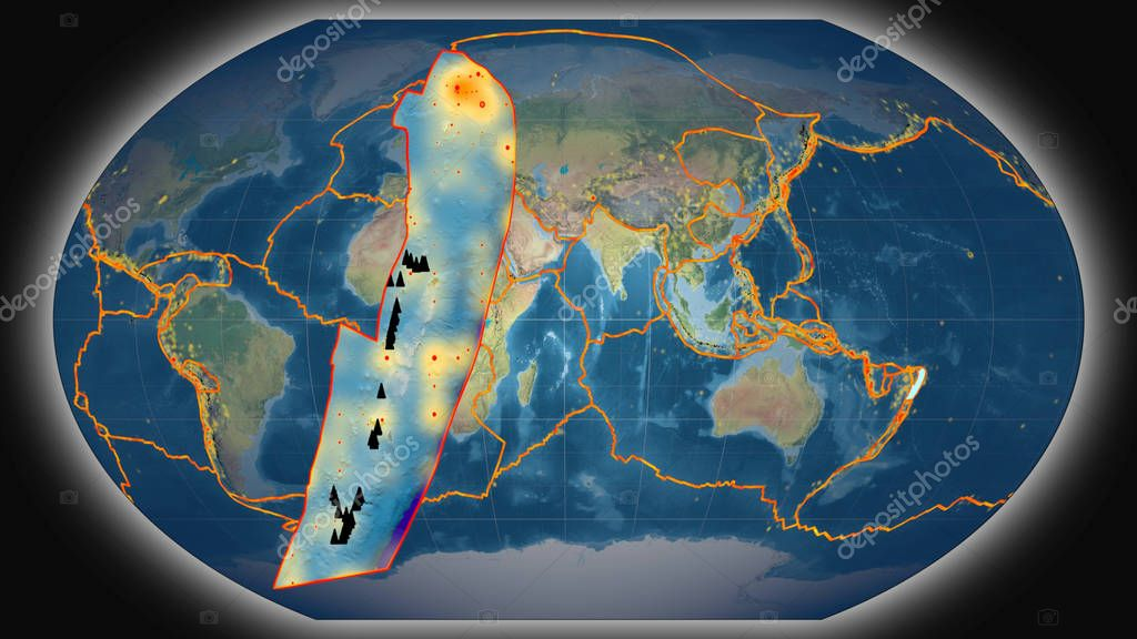 Tonga tectonic plate extruded and presented against the global topographic map in the Kavrayskiy projection