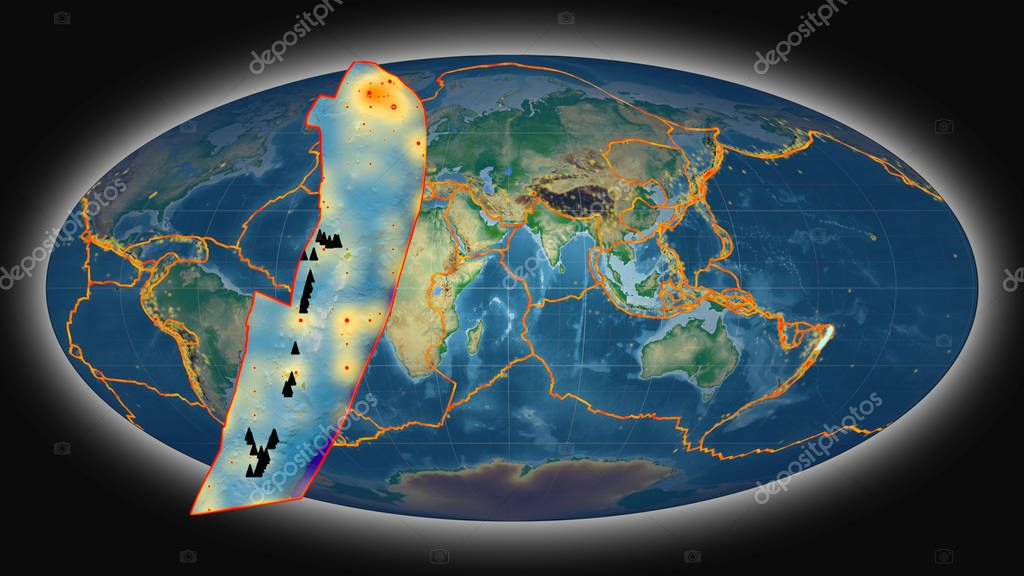 Tonga tectonic plate extruded and presented against the global color physical map in the Mollweide projection