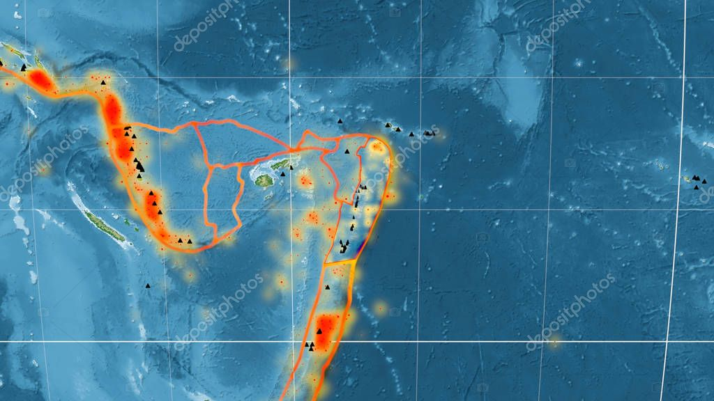Tonga tectonic plate outlined on the global color physical map in the Mollweide projection