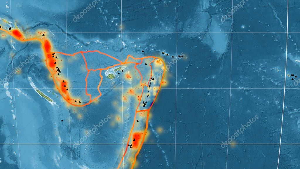 Tonga tectonic plate outlined on the global topographic relief map in the Mollweide projection