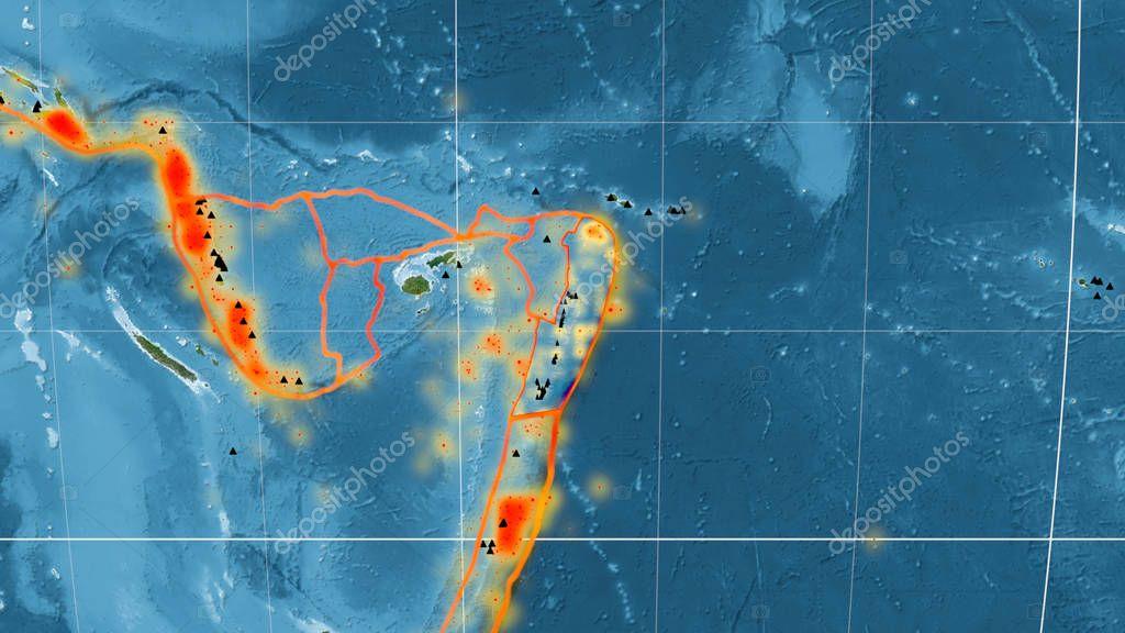 Tonga tectonic plate outlined on the global satellite imagery in the Mollweide projection