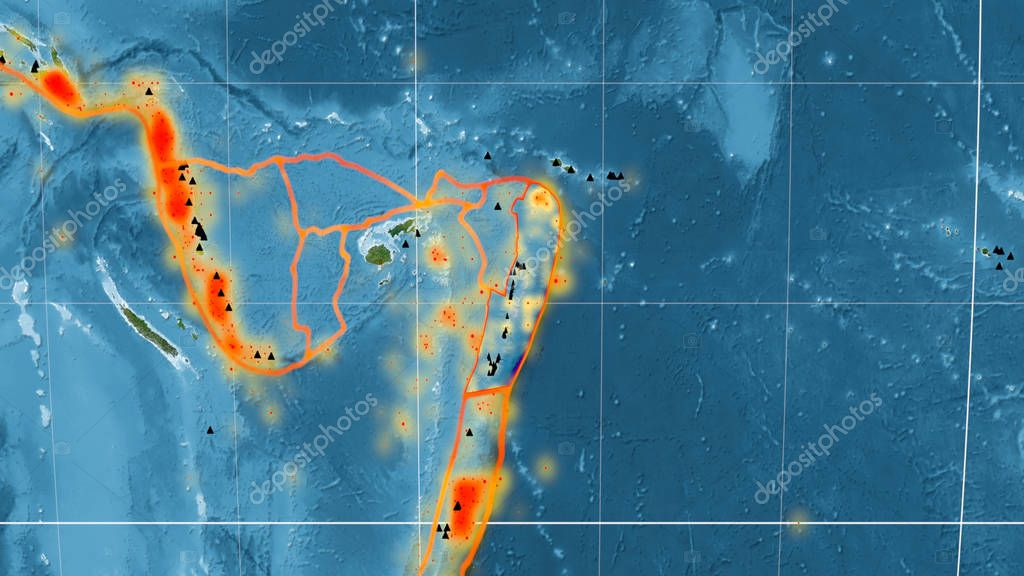 Tonga tectonic plate outlined on the global satellite imagery in the Kavrayskiy projection