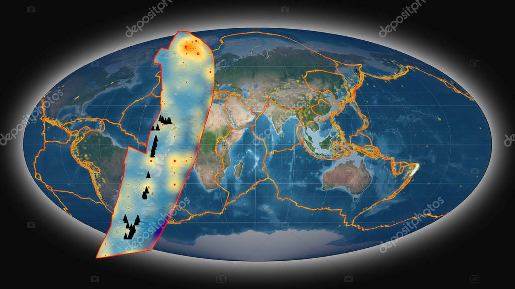 Tonga tectonic plate extruded and presented against the global satellite imagery in the Mollweide projection