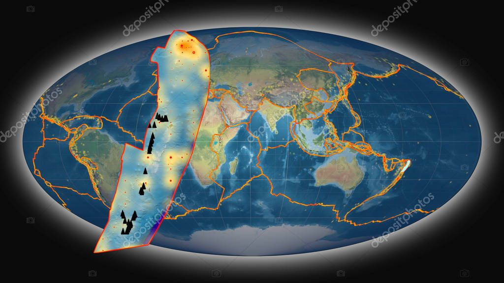 Tonga tectonic plate extruded and presented against the global topographic map in the Mollweide projection