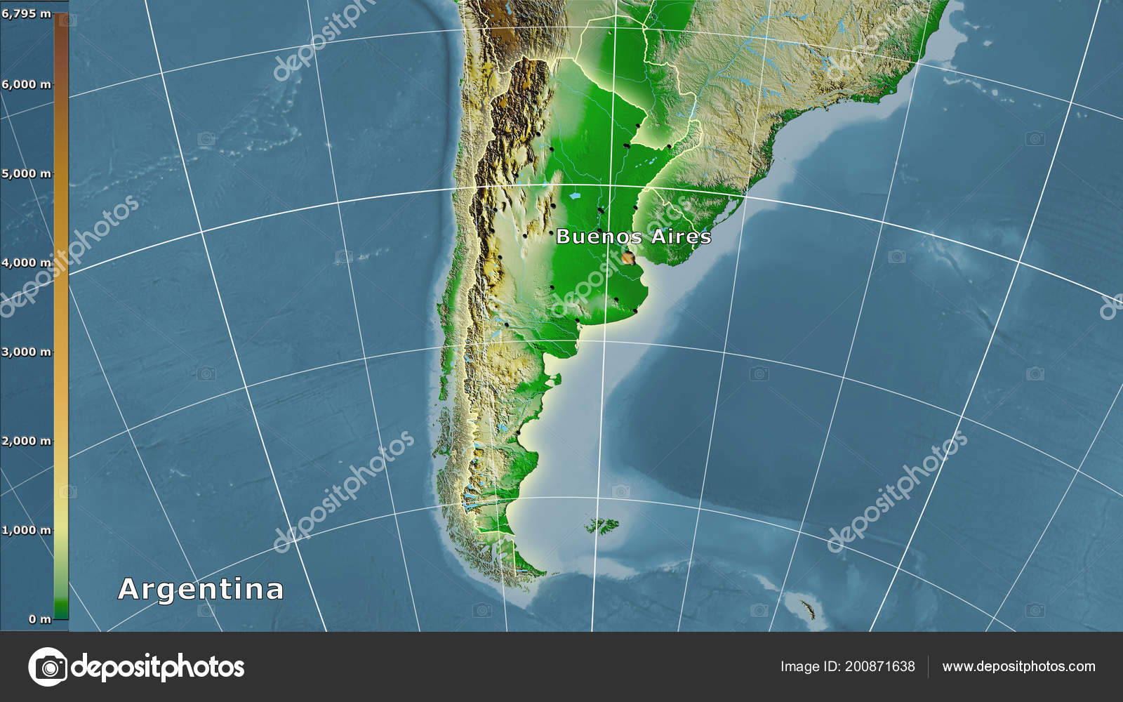 Physical Map Argentina Area Stereographic Projection Legend Main ...