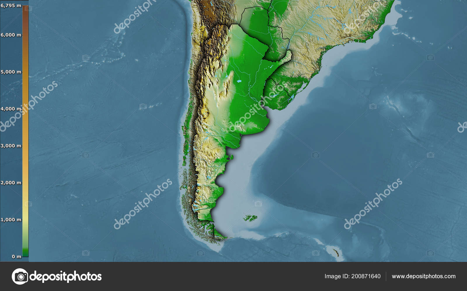 Physical Map Argentina Area Stereographic Projection Legend Raw ...