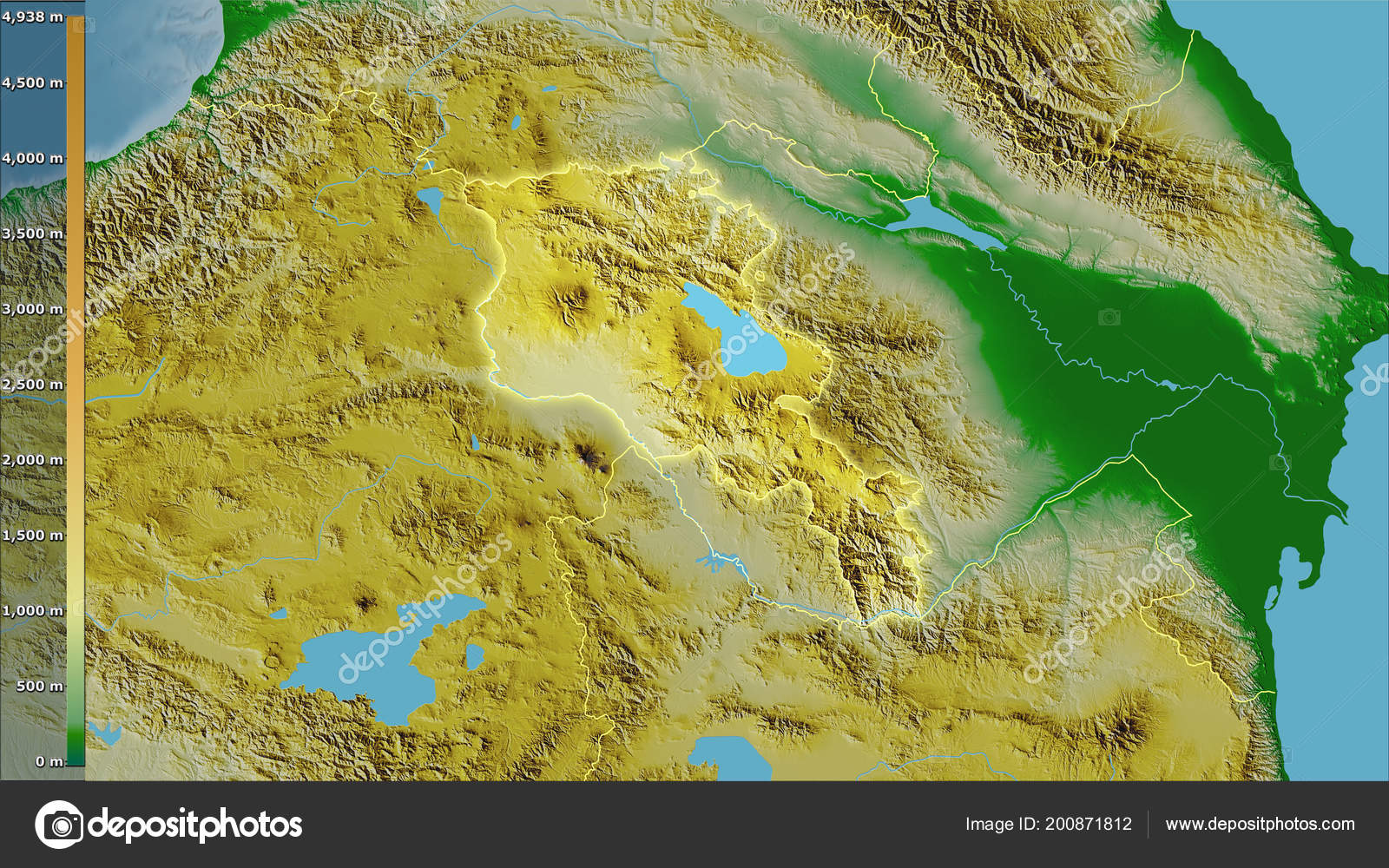 Physical Map Armenia Area Stereographic Projection Legend ...