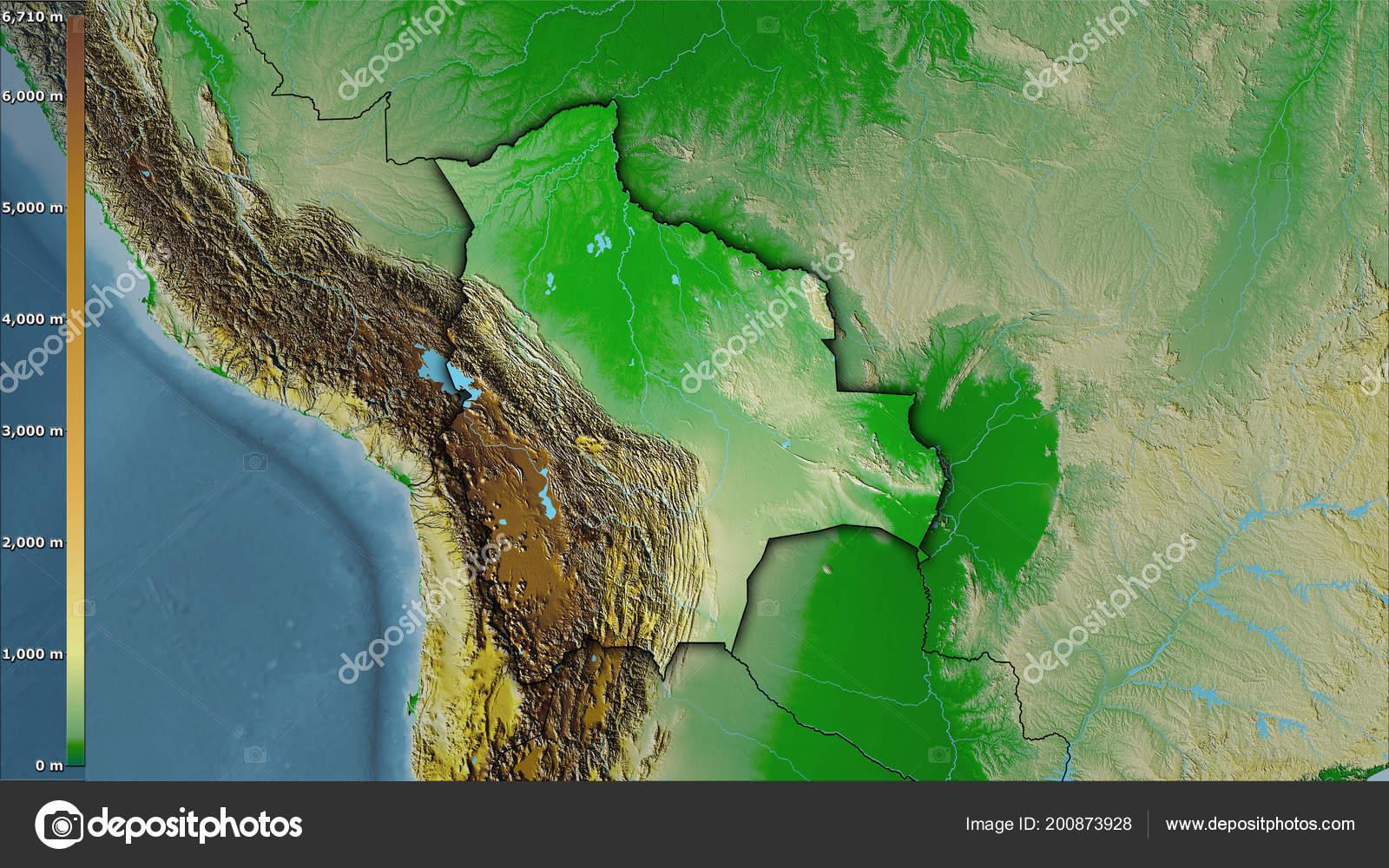 Mapa Físico Dentro Zona Bolivia Proyección Estereográfica Con